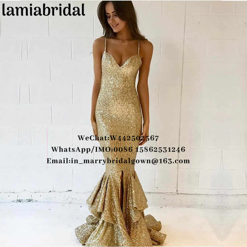 ... Sparkly Gold Sequined Mermaid Evening Dresses 2019 Plus Size Ruffles  Skirt Split Cheap Girls Pageant Formal ... 630b26552014