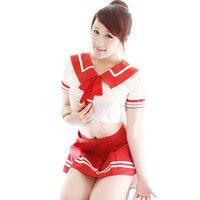 ホットセクシーな日本の女の子学校制服セックスランジェリー2016新しい女性衣装チアリーダーコスチューム韓国学生衣装赤