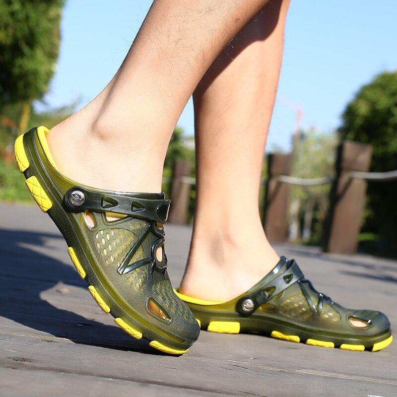 Playa Flip 2018 azul Flops Transpirable Negro Zapatillas Verano Zapatos Hueco Zuecos Antideslizante Nuevos Estilo Hombres Fuera Militar Sandalias verde Del Agujero YS744q