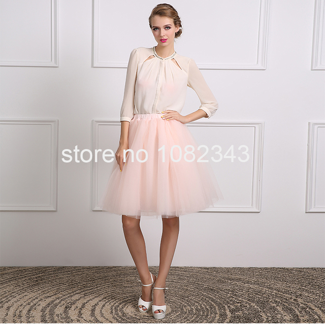 100% Real Photo Sexy White Chiffon Pink Tulle A Line Three Quarter Short Cocktail Dress 2016 Knee-Length  Party Dress