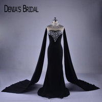 2018 Black High Neck Evening Dresses Real Image Mermaid Beaded Sequins Sweep Train Evening Gowns