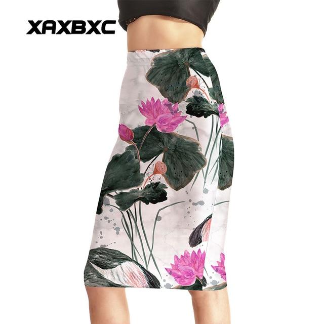 NEW 0026 Summer Sexy Girl Slim Fitness Skirt Chinese painting lotus Seed  Printed Wifey Knee Length Midi Women Pencil Skirt 6e9828bdca25
