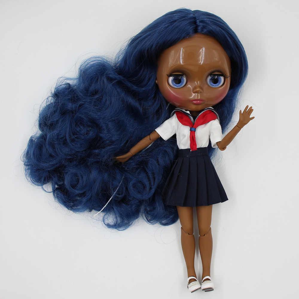 Blyth Telanjang Doll Super Hitam Gelap Warna Kulit 30 Cm Biru Tua Rambut Keriting Panjang Sendi Tubuh Es SD Tinggi kualitas Hadiah Mainan
