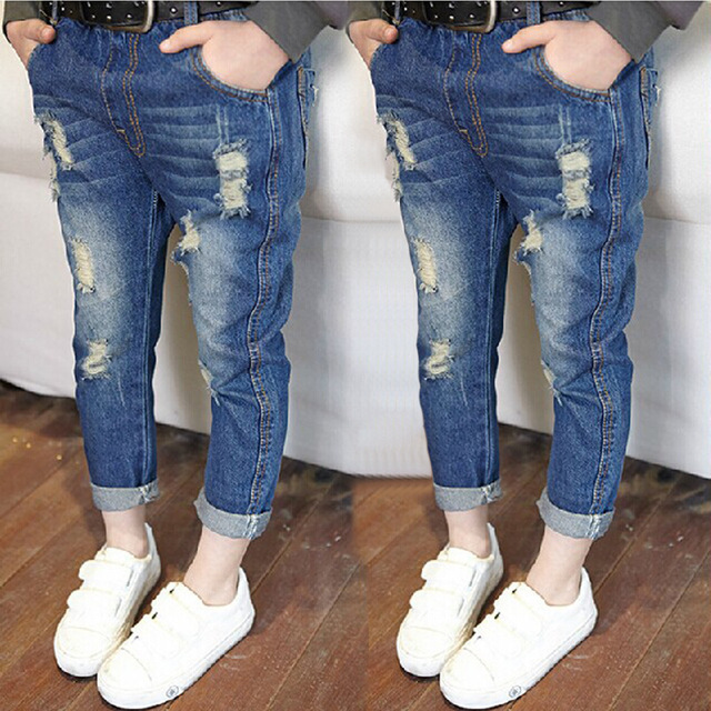 2017 new fashion autumn jeans boys girls elastic waist kids broken jeans children denim pants boy