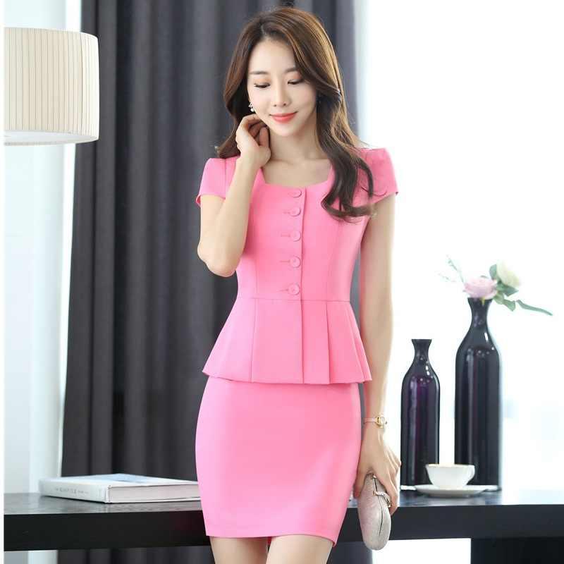 abdd145217f Элегантный розовый тонкий модный летний женский деловой костюм рабочие  костюмы с 2 шт Топ и юбка