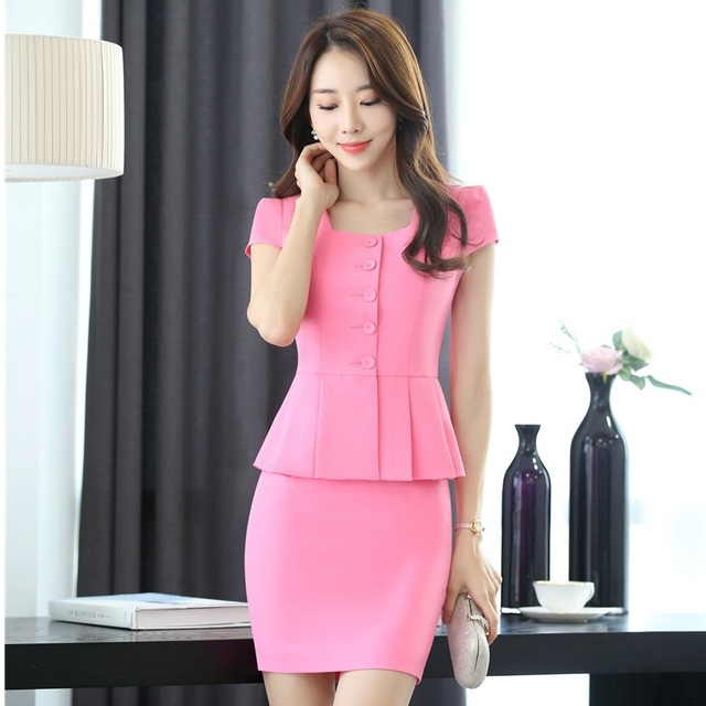 f25ff44ca519 Elegant Pink Slim Fashion Summer Professional Business Women Work Suits  With 2 Pieces Tops And Skirt Ladies Blazers Outfit S-3XL