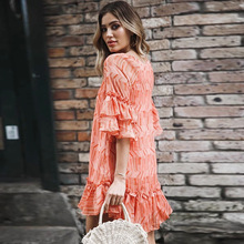 New Women Chiffon Dresses V-neck Stripe Print Orange Dress Summer Sleeve Split Beach Female F4
