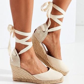 Women Breathable Flax Canvas Pump Ankle Strap Sandal Comfortable Casual Shoe
