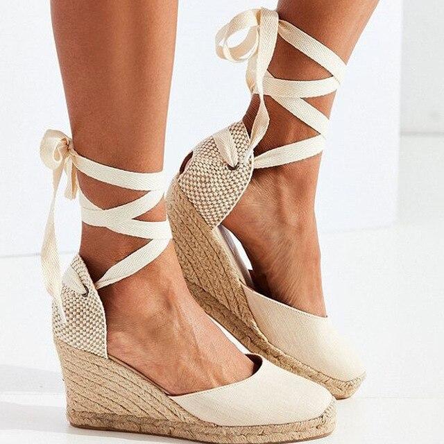 59dbb01b2 Women s Espadrille Ankle Strap Sandals Comfortable Slippers Ladies Womens  Casual Shoes Breathable Flax Hemp Canvas Pumps