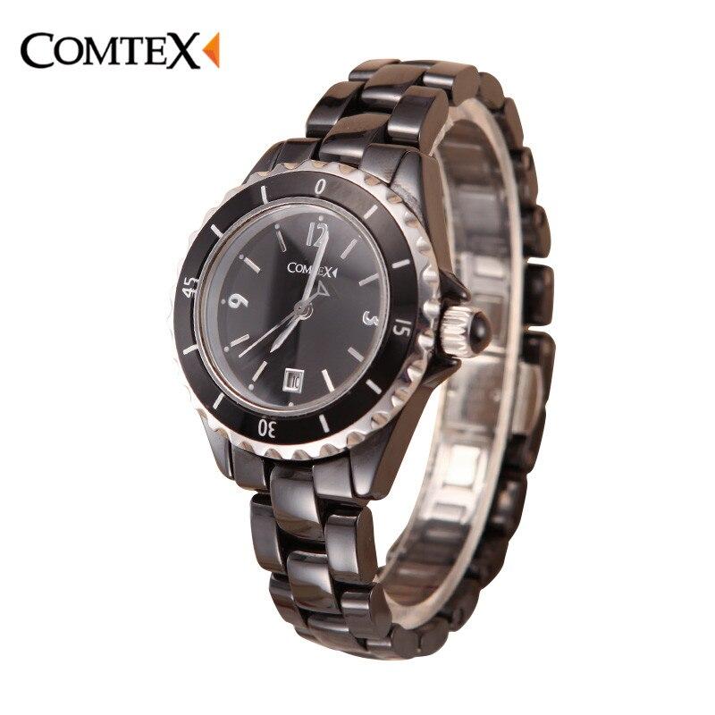 COMTEX Women Watch Black Ceramic Wristwatch Luxury Saphire Quartz Watches Woman Calendar Lady dress watch for women clock reloj