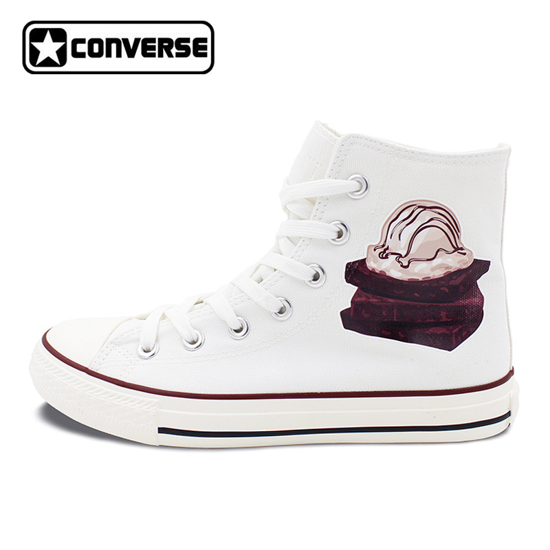 Chocolate Cake High Top Converse All Star Shoes Delicious Dessert White Canvas Sneakers Men Women Birthday Christmas Gifts men women s converse all star shoes high top lace up flats design five food recipes on white canvas sneakers gifts