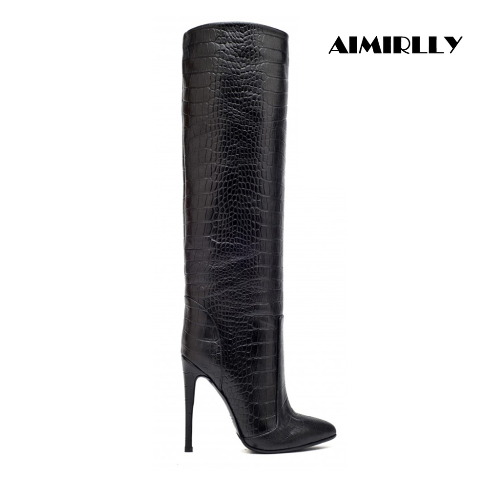 2018 Women Pointed Toe Straight Shaft Knee High Boots Wide Ankle Large Size Slip On Winter Dress Knee Boots2018 Women Pointed Toe Straight Shaft Knee High Boots Wide Ankle Large Size Slip On Winter Dress Knee Boots