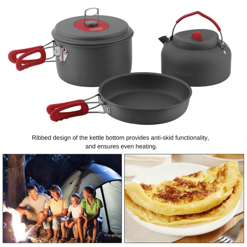 Alocs Non-Stick Aluminum Camping Cookware set Ultralight Cooking Picnic Kettle Dishcloth For 2-3 People camping frying pannen цены онлайн