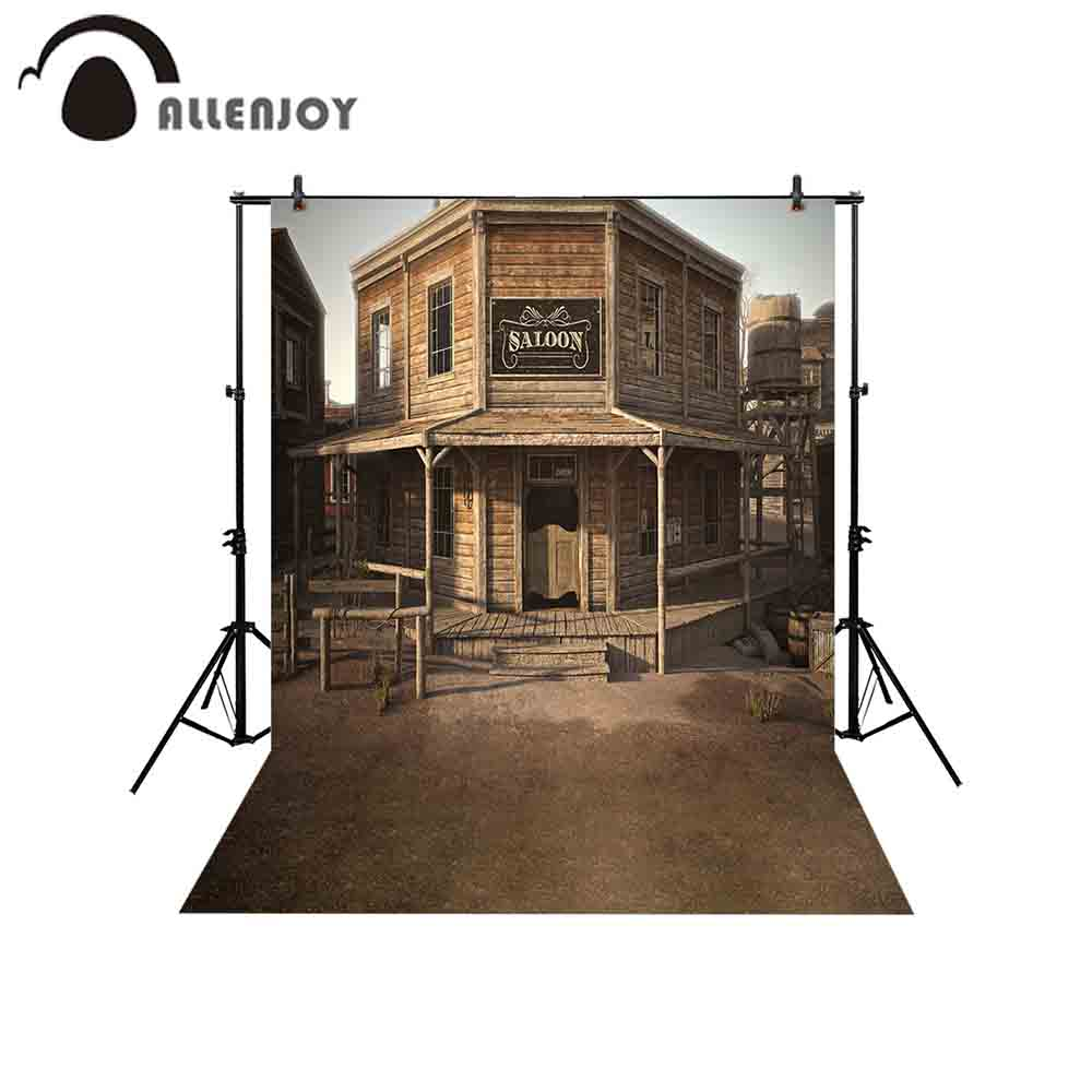 Allenjoy backgrounds for photography studio Vintage wooden western town  cowboy sallon club backdrop new professional photocall 28136d066254