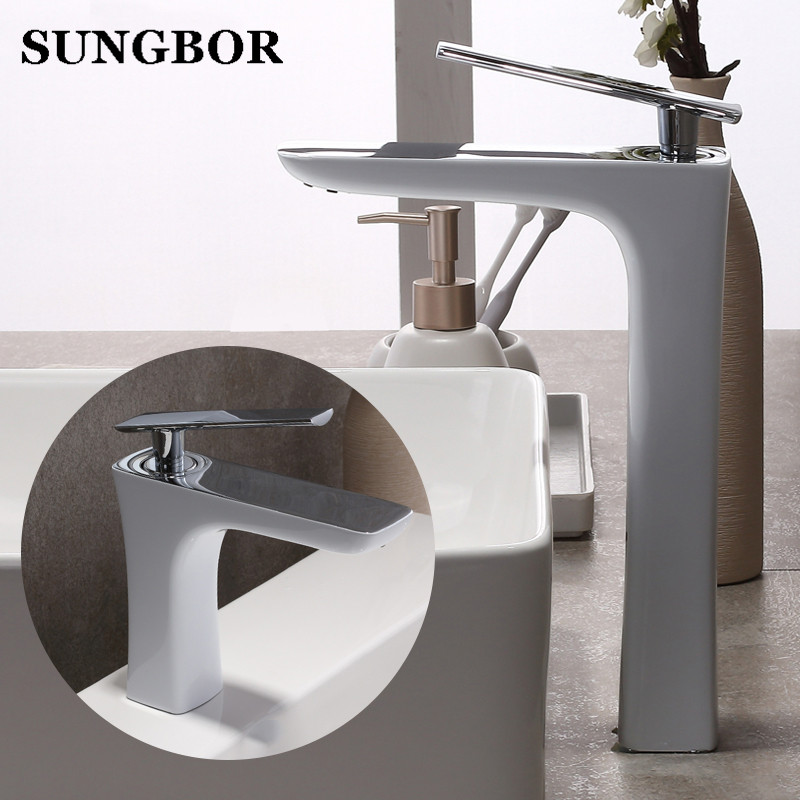 White Painting Basin Faucet Bathroom Single Handle Tap Brand New Washbasin Hot Cold Mixer,Deck Mounted,Free Shipping AL-7801B brand new deck mounted chrome single handle bathroom