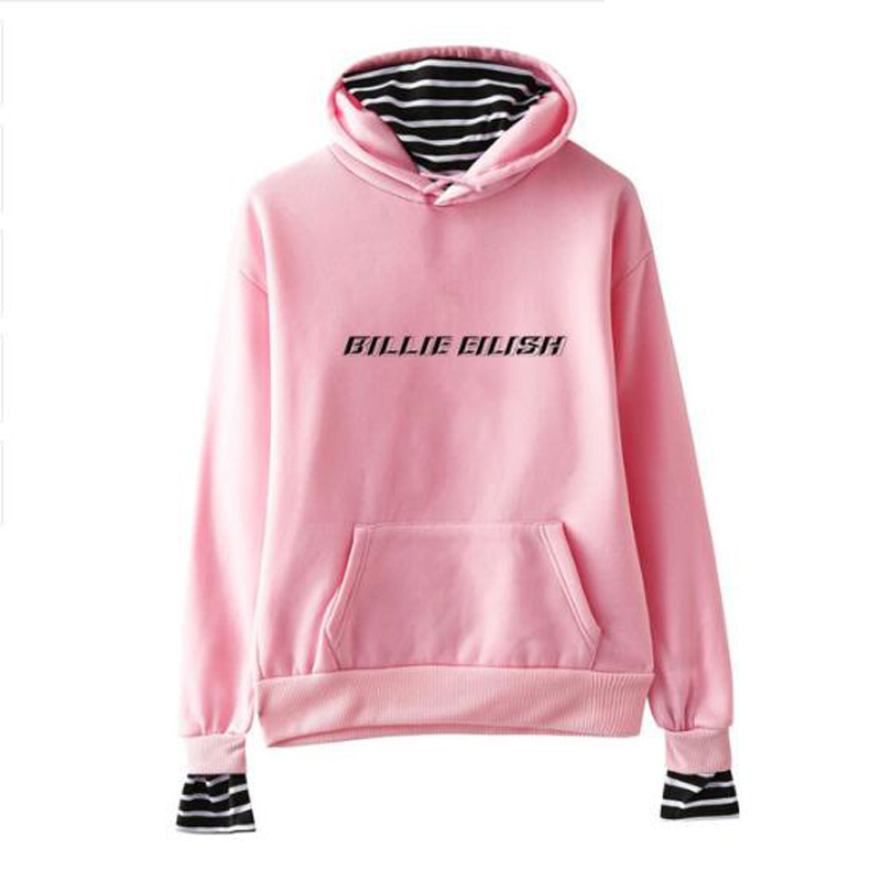 Billie Eilish Pullover Fake Two Pieces Hoodie Harajuku Streetwear Long Sleeve Casual Women Hoodies Sweatshirts Hip Hop Clothing