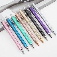 40 Pcs/lot Glitter Sequin Metal Ballpoint Pens for Writing Cute Press 1.0 Mm Black Ink Ball Pen Business Pen School Supplies