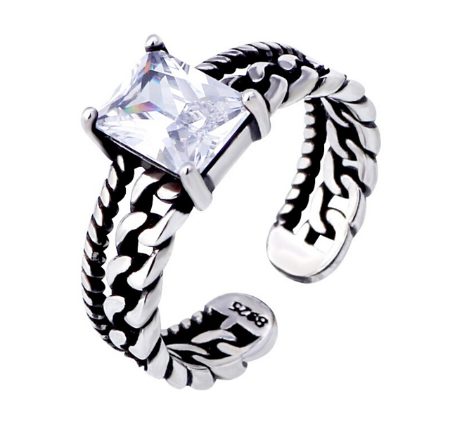 Vintage tricolor 925 Sterling Silver Zircon Opening Rings Twisted Chain Models F