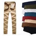 Men Slim calça Casual homens verão calças finas retas roupas calças pantalon homme 9 cores Khaki exército Plus Size 28 - 38