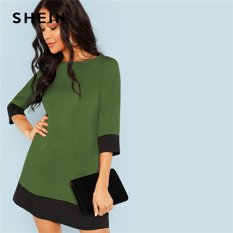 SHEIN Green Going Out Contrast Trim Tunic Dress Women's Shein Collection