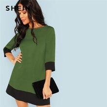 Shein 녹색 나가기 대조 트림 튜닉 3 분기 길이 슬리브 시프트 colorblock 드레스 가을 현대 레이디 여성 드레스
