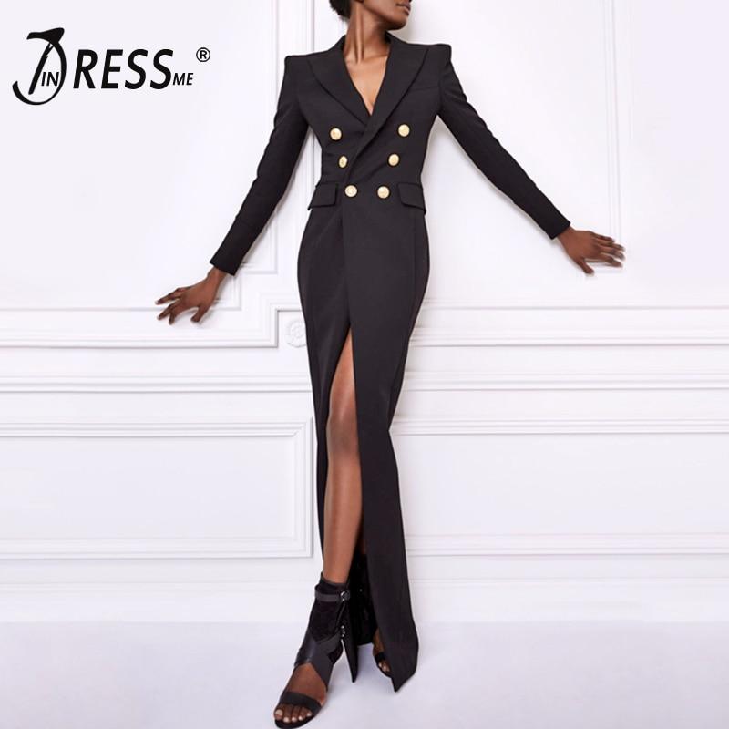 Women Bodycon Dress Black V Neck Sexy Button Office Lady Fashion Regular Straight Dresses