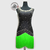 New latin dance costumes sexy diamond beads latin dance dress for children women latin dance competition dresses S 4XL F102