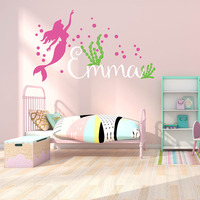 Little Mermaid Inspired with Personalised Name Wall Stickers Mermaid Wall Decal with Custom Name for Girl's Room 837C