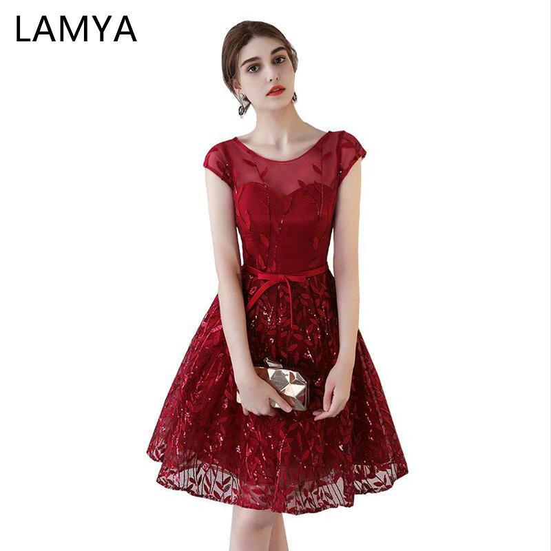 LAMYA Wine Red Short Evening Dresses Elegant O Neck 2019 Prom Party Gowns Appliques Sequined Vestido De Festa