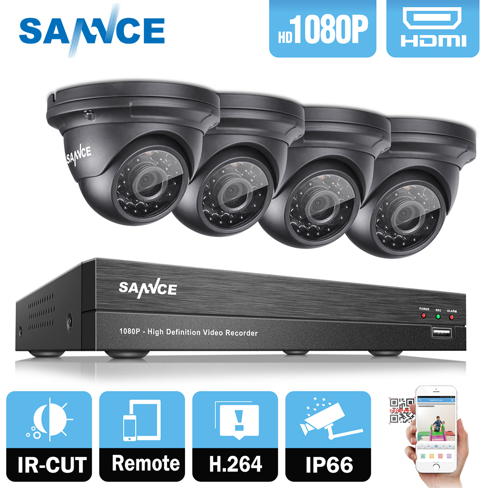 SANNCE 2.0MP 1080P HD 4 Channel DVR AHD Surveillance Kit 4PCS Outdoor Home Security IR Night Vision Camera CCTV System with 1TB