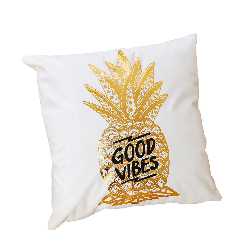 <font><b>Pillow</b></font> Case Soft Cotton Linen Pillowcases Bronzing Gold Printing Plush flannel Love Pillowcases Bedding for living room 45*45cm