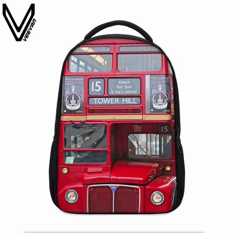 VEEVANV 청소년을위한 새로운 크리 에이 티브 디자이너 3D 인쇄 백팩 빌딩 블록 런던 시계 레드 버스 달러 패턴 프린트 백