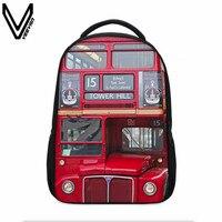 VEEVANV New Creative Designer 3D Printing Backpacks For Teenagers Building Block London Clock Red Bus Dollar Pattern Printed Bag