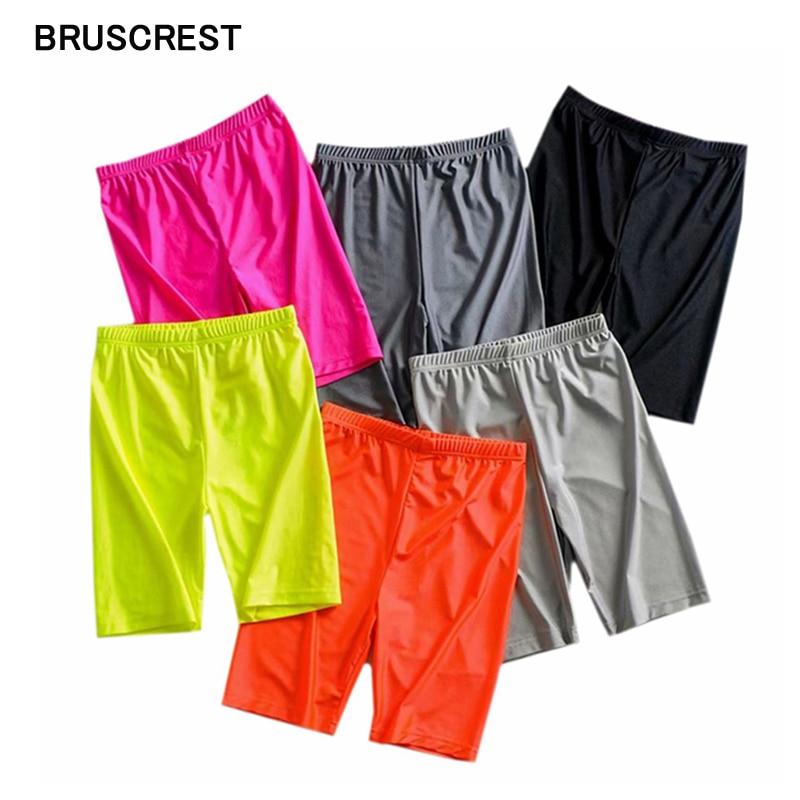 Summer Neon Green Pink Biker Shorts Elastic Black High Waist Shorts Womens Reflective Sweat Shorts Sweatpants Jogger Short Mujer