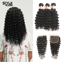 hot deal buy styleicon pre-colored human hair bundles with closure deep wave brazilian hair weave bundles non remy 3 4 bundles with closure