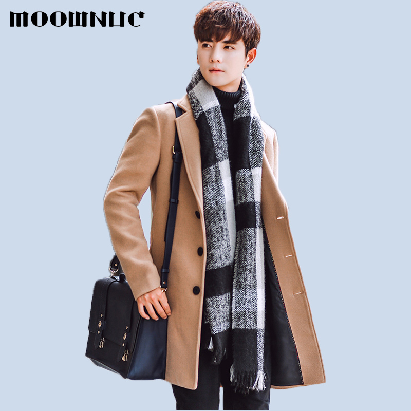 Woollen Overcoat Spring 2020 New Men Coat Fashion Brand Clothing Warm Woolen Overcoat Male Wool Blend Men's Coat MOOWNUC 5XL