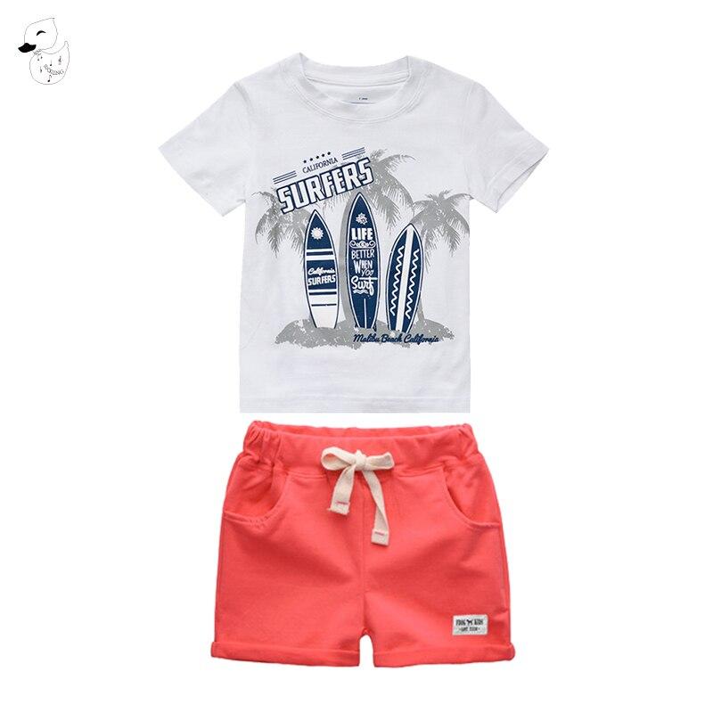 1SET Summer Casual Children Kid Boys Toddler Cartoon T-Shirt Beach Shorts Pants