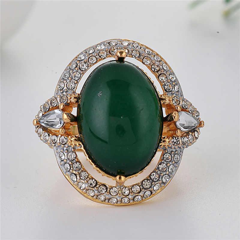 Luxury Drak สีเขียวหินแหวนแฟชั่นผู้หญิงเครื่องประดับคริสตัลสีขาว Pave แหวนแต่งงานแหวน Anillos Mujer s5X299
