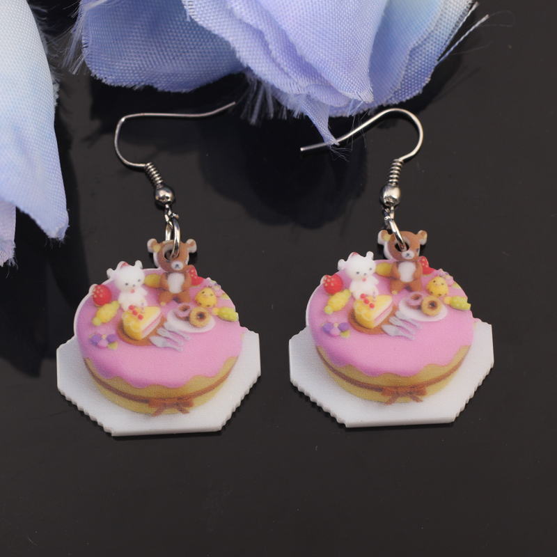 Bonsny birthday cake food earrings colorful new 2014 cute lovely