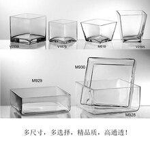 Прозрачный стеклянный квадратный цилиндр квадратный цветочный горшок стеклянная посуда прозрачный и тяжелый современный минималистичный