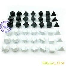 Bescon пустой многогранный набор костей для ролевых игр 42 шт. набор для художников, сплошной черный и белый цвета в комплекте 7, 3 комплекта для каждого цвета