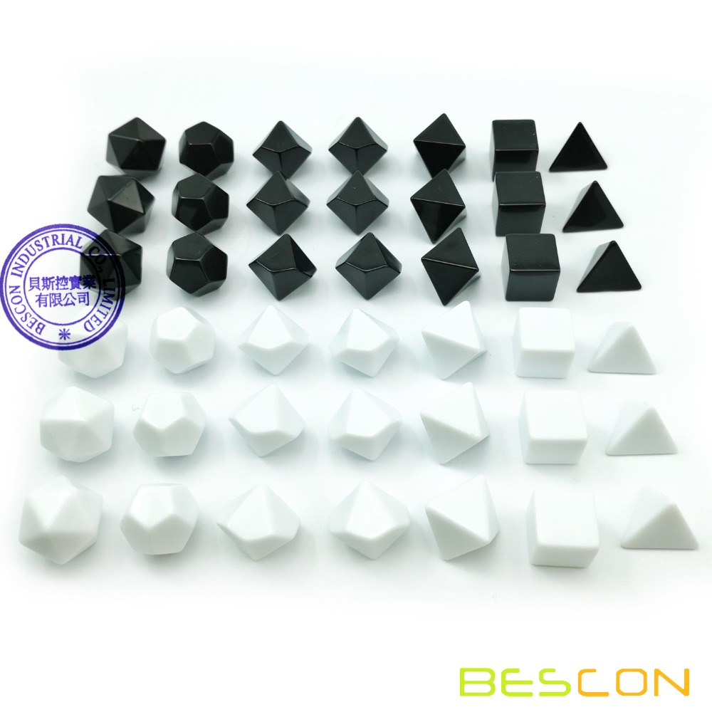 Bescon Blank Polyhedral RPG Dice Set 42pcs Artist Set, Solid Black And White Colors In Complete Set Of 7, 3 Sets For Each Color