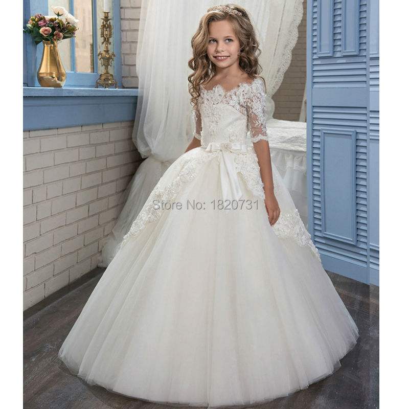 2019 Ball Gown O-neck   Flower     Girl     Dresses   Appliques Half Sleeve First Communion   Dresses   Vestidos Longo robe de fille de fleur