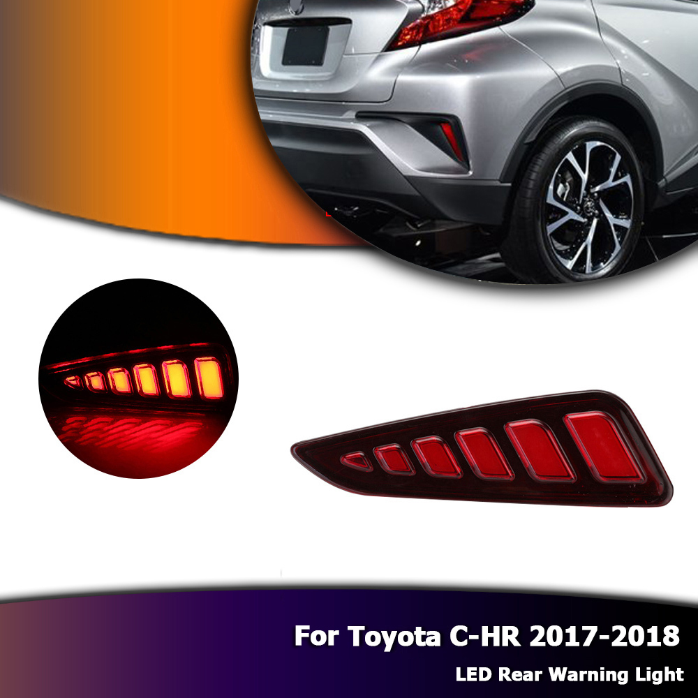 Red Rear Bumper Reflector Tail Stop Light Led Auto Car Rear Warning Light for Toyota CHR C-HR 2017-2018 D35 2x red red lens rear bumper reflector warning light for bmw f30 f35 328i 320i 335i auto car styling 3099