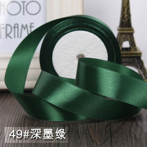 25 Yards Roll 1 2 5cm Dark Green Silk Satin Ribbon Wedding Party Decoration Gift Wring Christmas Sewing Fabric Hand Diy In Ribbons From Home Garden