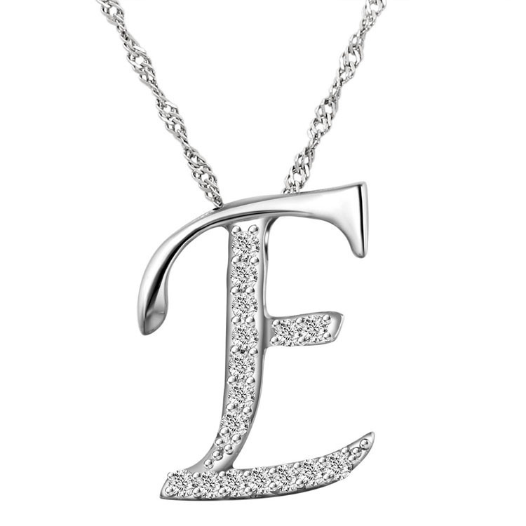 10pcslot fashion silver letter e pendant necklace crystal initial letter necklace clavicle chains valentines