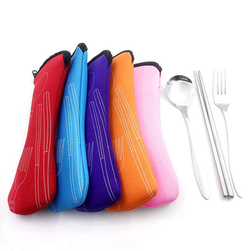 Tragbare Messer Gabel 1Pc Neue Reißverschluss Reise Besteck Tasche Mode Stäbchen Kissen Tasche 8 Farben Weiche Luft Baumwolle