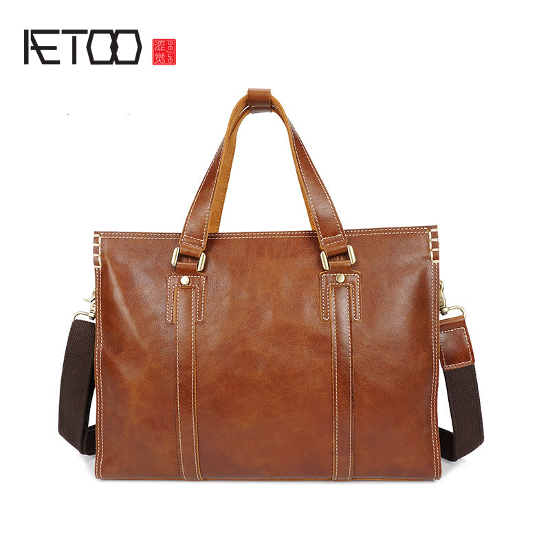 AETOO The first layer of cowhide business portable leather light leather single shoulder Messenger bag computer casual leather mAETOO The first layer of cowhide business portable leather light leather single shoulder Messenger bag computer casual leather m