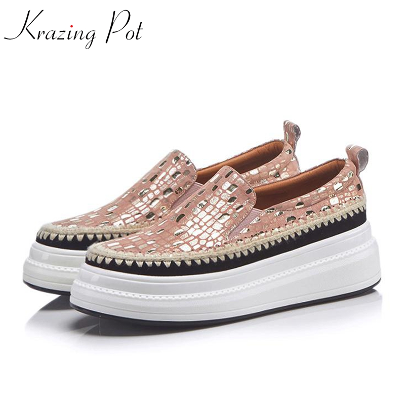 Krazing Pot new sheep suede flat platform loafers sneakers for women round toe slip on fashion