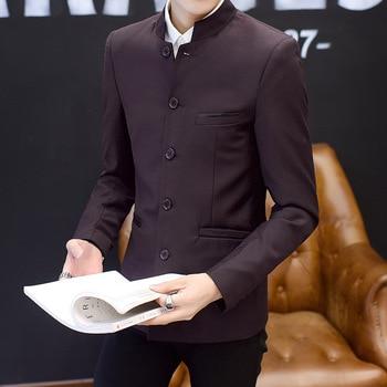 The new 2020 men's fashion more than pure color button suit collar suit